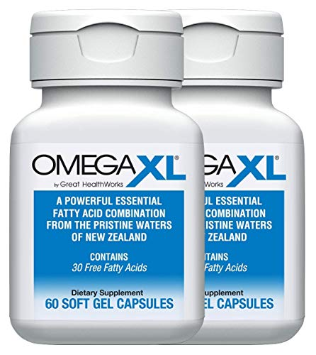 OmegaXL® 2 Pack 60 Ct - Omega 3 Free Fatty Acids, Ultra Effective Natural Pain Relief Supplement Helps with Joint Pain & Inflammation - No Fishy Aftertaste - with EPA & DHA from Green Lipped Mussels