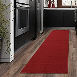 "Ottomanson Ottohome Collection Solid Design Hallway Wedding Aisle Runner Rug Non-Skid (Non-Slip) Rubber Backing Area Rug, 20"" X 59"", Red"