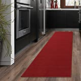 """kitchen rugs and runners Ottomanson OTH8400-20X59 Ottohome Collection Solid Design Runner, 20"""" x 59"""", Red"""