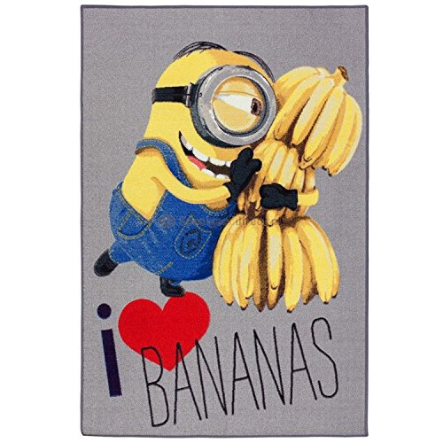 Asditex Tappeto per bambini *** motivo: Minions, I Love Bananas *** 95x 133cm