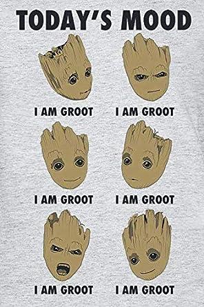 Hasbro Guardiani della Galassia 2 Groot Todays Mood T-Shirt Grigio Chiaro Screziato
