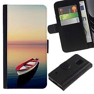 KingStore / Leather Etui en cuir / Samsung Galaxy S5 V SM-G900 / Sea Sunset calma Red Esperanza Libertad