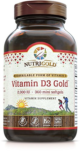 Nutrigold Vitamin D3 Gold (in Organic Olive Oil), 2000 IU, 360 softgels