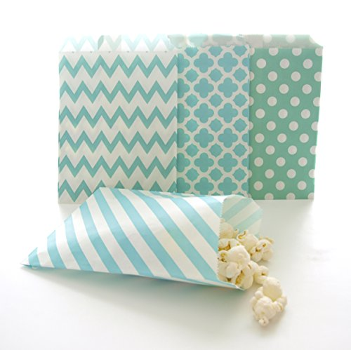 Teal Blue Party Supply Goody Bags (100 Pack) - Scoop Candy Buffet Treats in Birthday & Wedding Loot (Chevron Blue Dessert Plates)