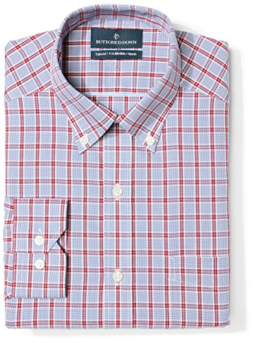 BUTTONED DOWN Men's Tailored Fit Button-Collar Pattern Non-Iron Dress Shirt, Red/Blue Large Plaid, 16.5