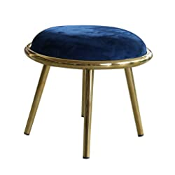 Pouf Rond en Acier Inoxydable Pouf Repose-Pieds Pouf Repose-Pieds Pouf Rembourré Salon Chambre Premium Usage Intensif, 4 Pieds (40 × 42 Cm) Bleu