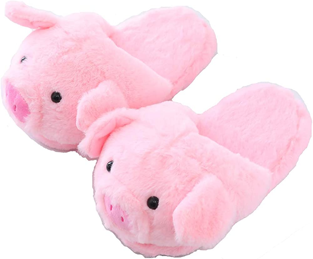 Millffy Funny Womens Warm Animal Slippers Funny Slippers Furry Pink Pig Slippers House Shoes