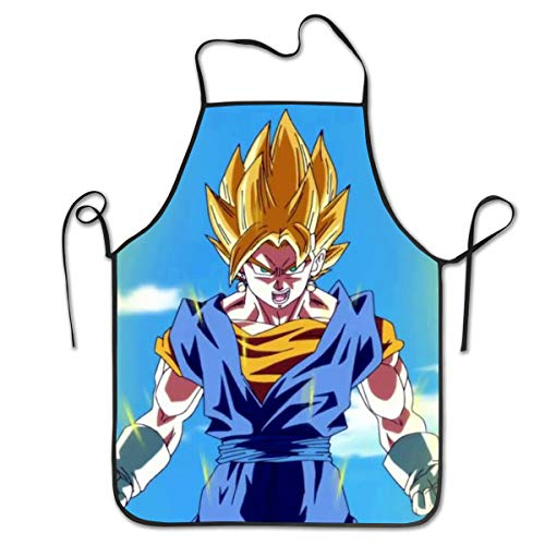 NiYoung Kitchen Apron Dragonball Z Bib Aprons Women Men Professional Chef Aprons with Extra Long Ties, Waterdrop Resistant Waiter Hostess Apron for Wedding Baking