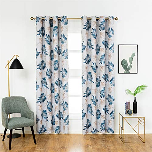 Anjee Blackout Curtains Panels with Tropical Plants Print Design - All Season Thermal Insulated Grommet Top, 95 inch Long for Bedroom