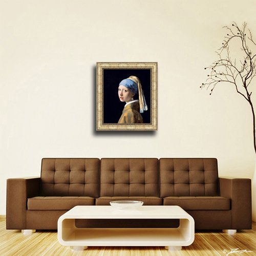 694e210e5cf Amazon.com  Johannes Vermeer Girl with a Pearl Earring Framed Canvas Giclee  Print - Finished Size (W) 28.1   x (H) 32.1    Gold  (V06-04K-MD535-01)   Posters ...