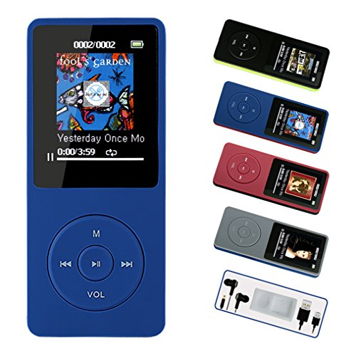 FenQan MP3 Player, MP3 Music Player HiFi Sound, Portable Multi-color, 8GB Memory Support 64G TF Card,70 Hours Playback 1.7'' Colorful Screen, With Multifunction Video, Photo Viewer, FM Radio-Blue by FenQan