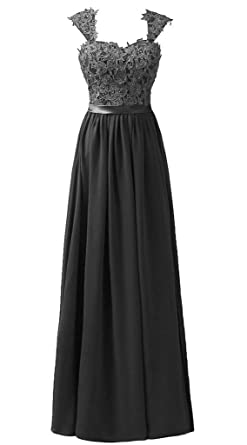 Snowskite Womens Long Shoulder Straps Lace Chiffon Prom Evening Dress Black 0