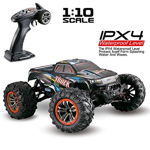 E-SCENERY 1/10 2.4Ghz 4WD RC Off-road Truck, Real High Speed 46km/h Wireless Remote Control Truck Car With Double Motors, Strong Powerful, Rechargeable Battery