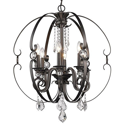 -6 EBB Ella -Six Light Chandelier, Brushed Etruscan Bronze Finish with Multi-Faceted Clear Crystal (Etruscan Bronze 6 Light)