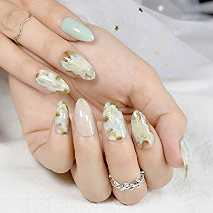Buy Generic Marble Almond Full Cover French Nail Tips Red