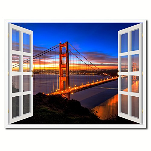 Golden Gate Bridge San Francisco California Sunset Picture French Window Art 23033 Framed Canvas Print Office Wall Home Decor Collection Gift Ideas - Francisco Shopping Centers San