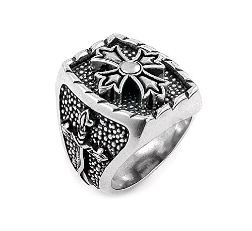 Twisted Blade 925 Sterling Silver Rectangle With Fleur De Lis Cross Center Ring Size 13 by Buy For Less