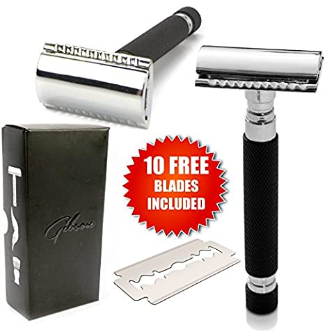 Gibson Double Edge Shaving Safety Razor Kit - Balanced Long Handled - Includes 10 DE Blades - Best Shave - Best Shave