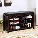 Tara Shoe Rack Bench With Pu Cushion Brown Cherry Finish For Sale