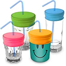 iGadgitz Home Reusable 100% Food Grade BPA Free Soft Silicone Spill-Proof Travel Straw Lids for Most Drinking Cups & Glasses – Pack of 4 (Pink, Yellow, Green, Blue)