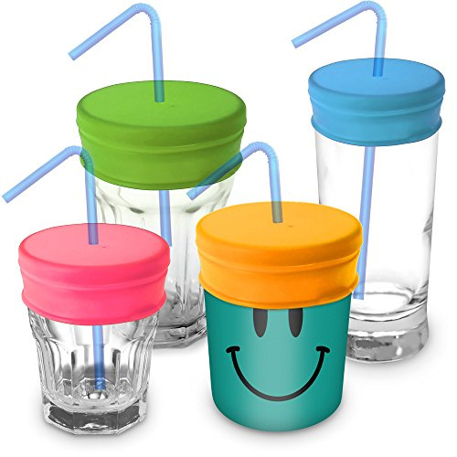 iGadgitz Home Reusable 100% Food Grade BPA Free Soft Silicone Spill-Proof Travel Straw Lids for Most Drinking Cups & Glasses – Pack of 4 (Pink, Yellow, Green, Blue) (Jar Suction)