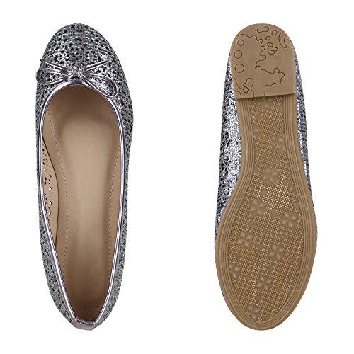 Stiefelparadies Klassische Damen Ballerinas Metallic Slippers Bequeme Flats Glitzer Party Schuhe Abendschuhe Schleifen Flandell Grau Grau