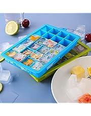 Baixinda IJsblokjesvorm met deksel 2 stuks ijsblokjesvorm silicone vorm ijsblokjesvorm met deksel Ice Cube Tray elk 24 ijsblokjes, geschikt voor party cocktail, whisky (BPA-vrij).