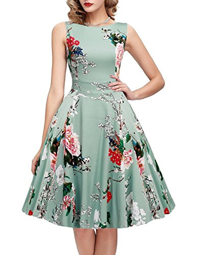 IHOT Vintage 1950's Floral Spring Garden Party Picnic Dress Party Cocktail Dress for Women Light Green Floral X-Large