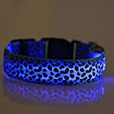 Evtech(tm) Leopard Print Night Safety Lead Collar Dog Cat Pet Adjustable Collar with Flash Light-up Blue - M