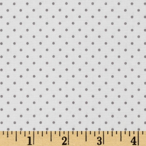 Riley Blake Designs 0315120 Riley Blake Swiss & Dots White/Gray Fabric by The Yard,