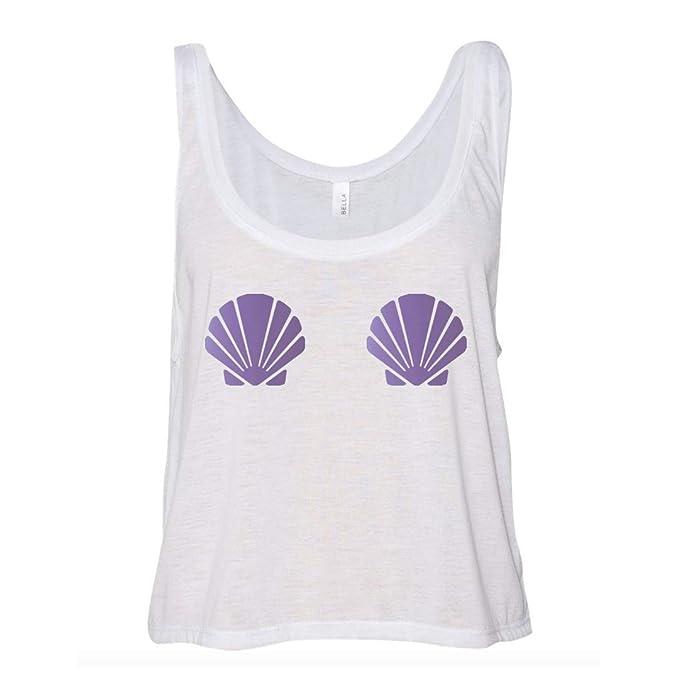 b1e4a68ffb60a A Dash of Chic Mermaid Seashell Metallic Purple Pastie White Crop Tank Top- Mermaid  Shirt