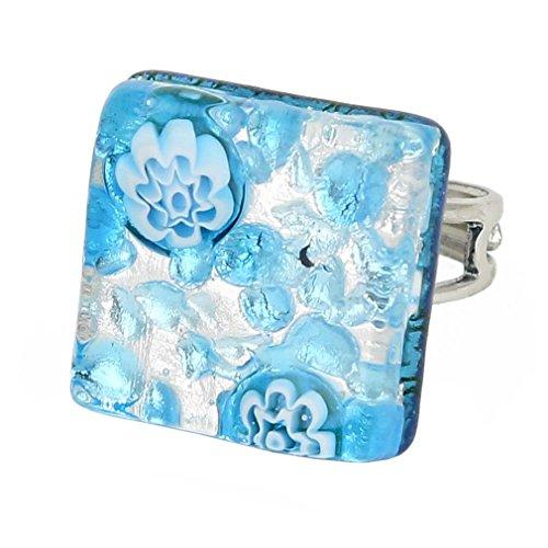 GlassOfVenice Murano Glass Venetian Reflections Square Adjustable Ring - Aqua ()