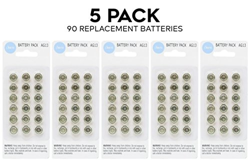 90 Pack Lingito LR44 AG13 357 Button-Cell Batteries Bottle Lights, Watches, Calculators, Keyless Car Remotes