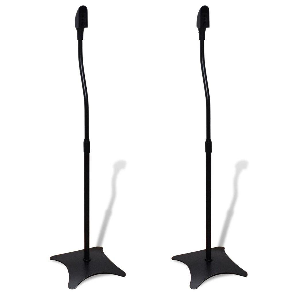 vidaXL 2 pcs Universal Speaker Stand Black/Sliver (Black) by vidaXL