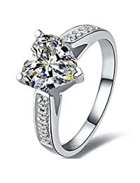 Sterling Silver NSCD Heart Diamond Ring Anniversary Jewelry 2CT Heart Ring for Women