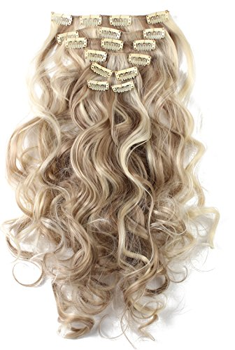 """SARLA 20"""" 7Pcs Full Head Wavy Clip In Hair Extensions Synthetic Heat-Friendly Fiber HairPiece (16H613 Dirty Blonde)"""