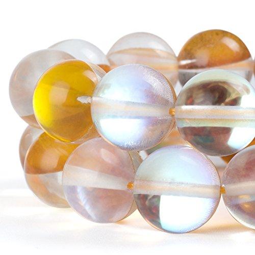 RUBYCARoundMoonstoneCrystalGlassBeadsAuraIridescentfor Jewelry Making(1strand,6mm,Gold)