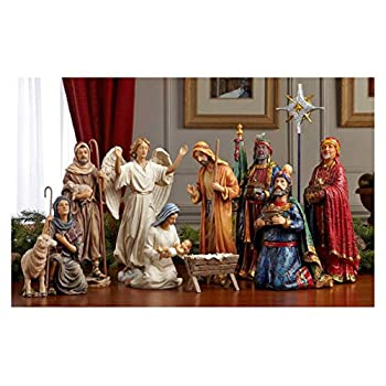 Image of Home and Kitchen Set of 11 Nativity Figurines with Real Gold, Frankincense and Myrrh - 10 inch Scale