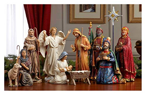 Set of 11 Nativity Figurines with Real Gold, Frankincense and Myrrh - 10 inch Scale ()