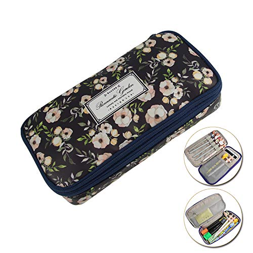 (Korean Version of The Romantic Garden Multi-Function Pen Bag, Lightweight Double-Layer Large-Capacity Stationery Bag Waterproof Storage Bag,Black)
