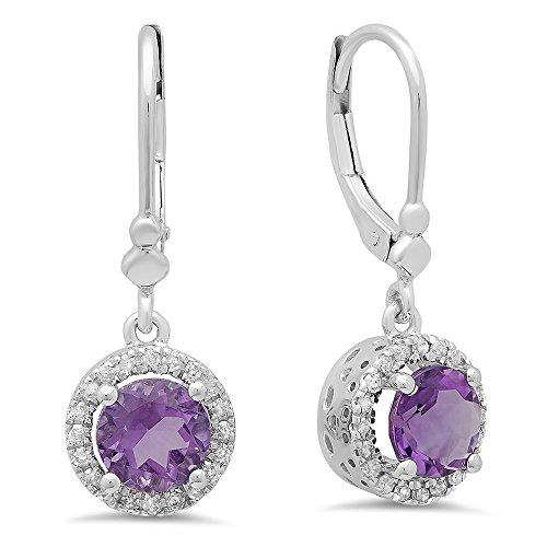 14K-White-Gold-Ladies-Halo-Style-Dangling-Drop-Earrings