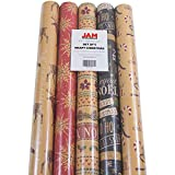 JAM Paper Kraft Wrapping Paper Rolls - 125 sq ft. - Kraft Christmas Set - 5 Rolls/Pack