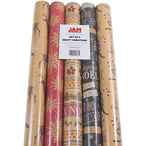 JAM Paper Kraft Wrapping Paper Rolls - 125 sq ft. - Kraft Christmas Set - 5 - Wrapping Christmas Paper