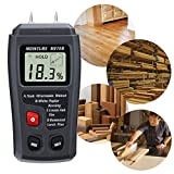 HappyCow Digital Wood Moisture Meter, 0.5% Accuracy Wood Moisture Meter with 2 Pins / 4 Types of Wood Species/Portable LCD Display Moisture Detector (ABS Plastic)