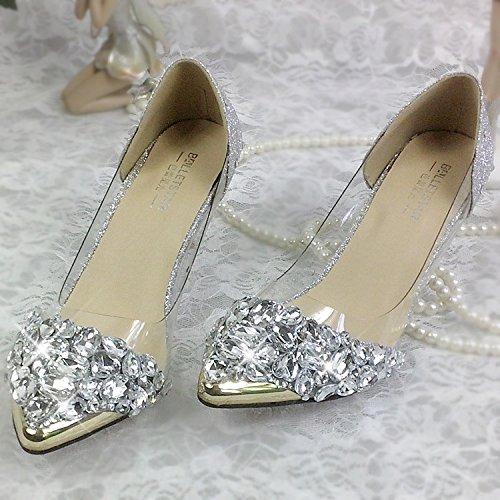 Blanco Zapatos de novia JINGXINSTORE Crystal shoes wedding tnfwznBYq