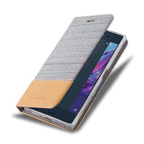 Cadorabo - Funda Estilo Book para >                                  Sony Xperia XZ                                  < de Diseño Tela / Cuero Arificial con Tarjetero, Función de Soporte y Cierre Magnético Invisible
