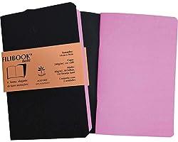 Caderneta Filibook 30 Folhas 14x9 Café/Rosa - Pacote com 2, Filiperson, 03954, Multicor, pacote de 208