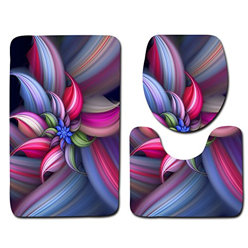 Wiorigin Bath Mat, Beautiful Flowers Bathroom Carpet Rug,Non-Slip 3 Piece Bathroom Mat Set (Mat_12) by Wiorigin