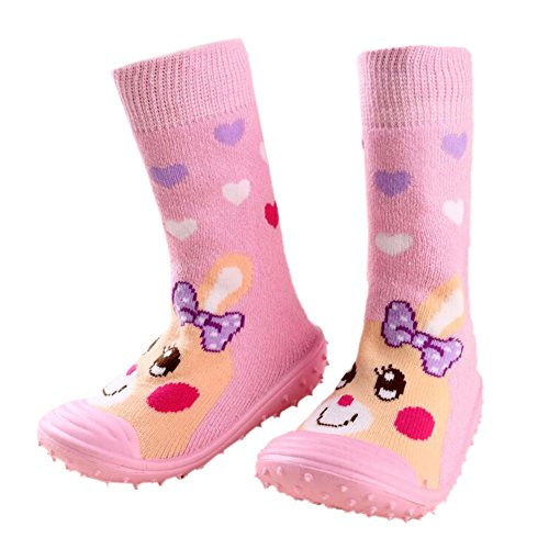 leap frogFloor Sock Slipper - Zapatillas altas niña Pink Heart Rabbit