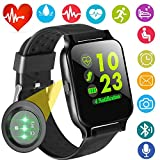 Fitness Tracker with Heart Rate Blood Pressure Monitor Smart Watch GPS Activity Tracker for Men Women Summer Sport Smartwatch Calories Pedometer Sync Phone Calls SMS Android iOS (Black)